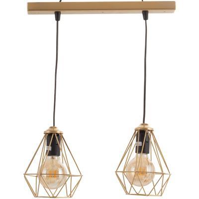 Lámpara de colgar Fierro Geometrica 2L Dorado