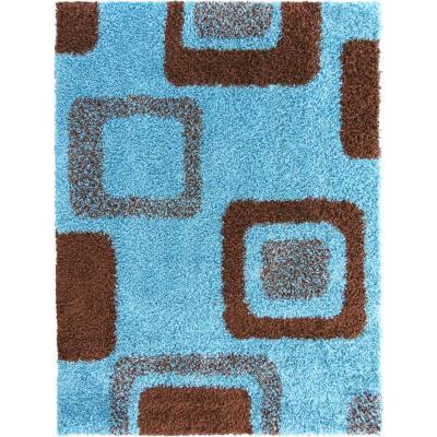 Alfombra shaggy cuadrados 150x200 cm turquesa