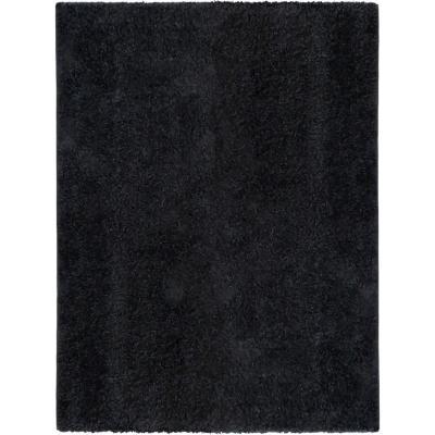 Alfombra shaggy lisa 150x200 cm negro