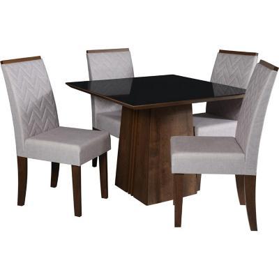 Juego de comedor 4 sillas 120x90 Crudo