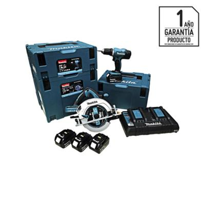 Kit inalámbrico 18V sierra circular + taladro atornillador + 4 baterías