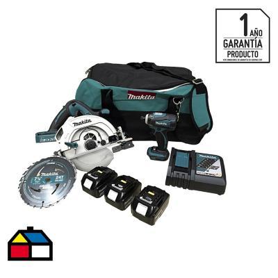 Kit inalámbrico 18V sierra circular + atornillador impacto + 3 baterías