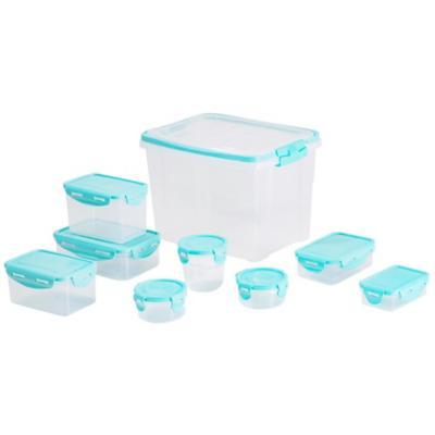 Set 11 contenedores clip celeste Plástico