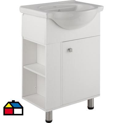 Kit mueble vanitorio con repisa Blanco 56 cm
