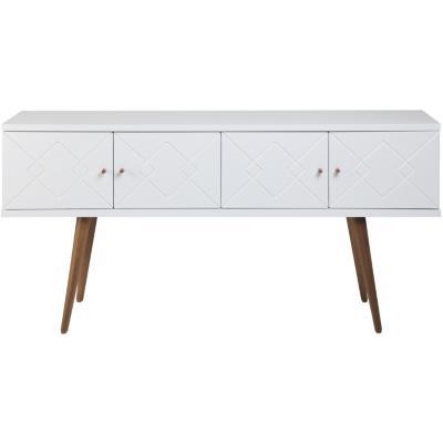 Buffet 152x38x77 cm Blanco brillante/natural