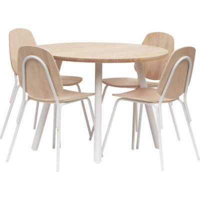 Juego de comedor 4 sillas 100x100 Oak