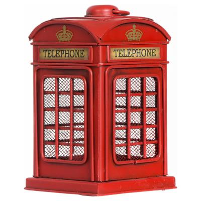 Cabina Telefónica con luz 10x16,5x10 cm metal rojo