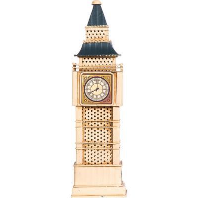 Big Ben con luz 9,5x32,5x9,5 cm metal beige
