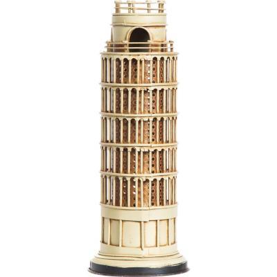 Torre Pisa con luz 10x25,5x10 cm metal beige
