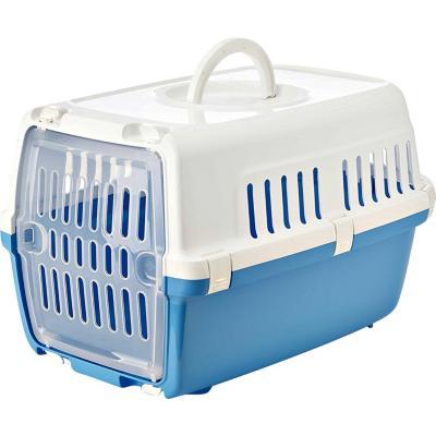 Jaula de transporte azul para animales pequeños