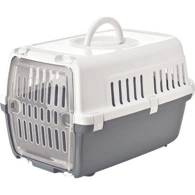 Jaula de transporte gris para animales pequeños
