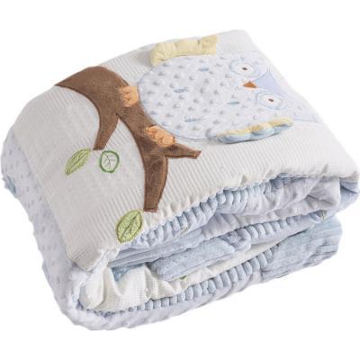 Cobertor cuna búho celeste 90x120 cm
