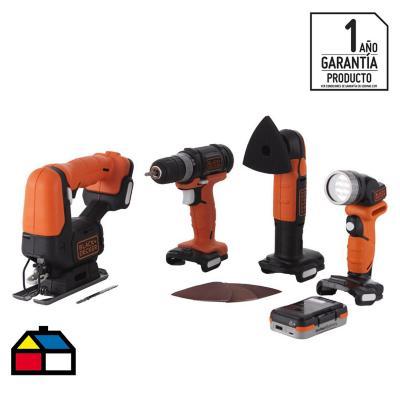 Kit inalámbrico 12V taladro atornillador + sierra caladora + lijadora + linterna + batería