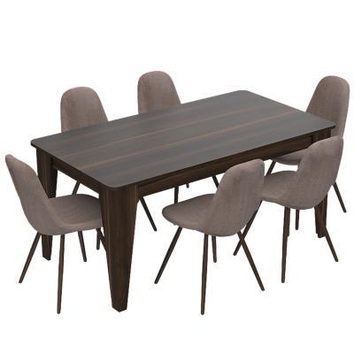 Juego de comedor 6 sillas 160x88 gris