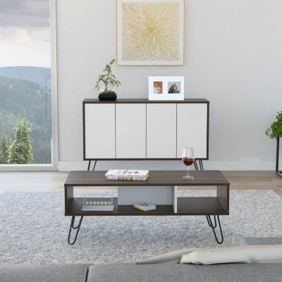 Bife + mesa centro habano/blanco 76x117x39 cm
