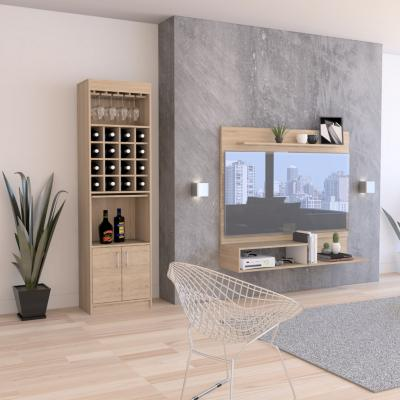 "Panel TV 40"" + bar rovere/blanco 120x140x32 cm"