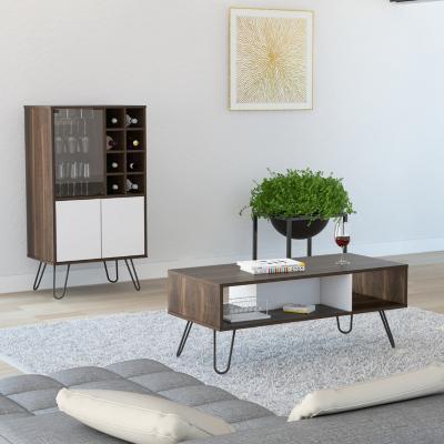 Bar + mesa centro habano/blanco 109x60x41 cm