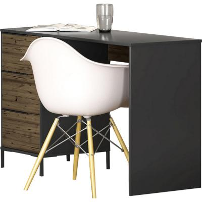 Set escritorio + estante 2 cajones Pino/Negro