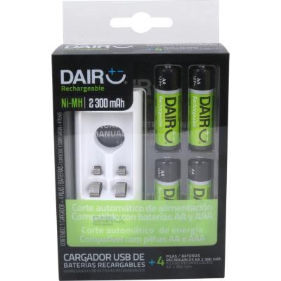 Cargador USB + pilas recargables AAx4