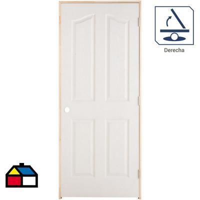 Puerta Lista HDF Kiyen Precolgada apertura derecha 80 x 200cm