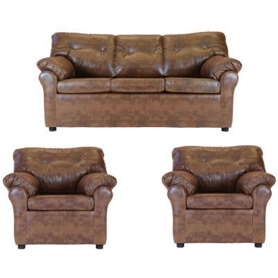 Juego de living sofá 3 cuerpos + 2 sillones caramelo