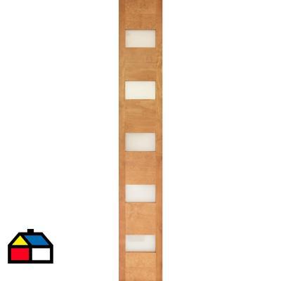 Mampara Pino 5 vidrios color Cerezo 30 x 200cm incluye vidrios