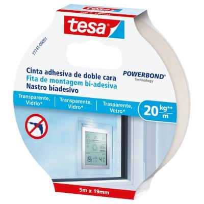 Cinta doble contacto 5mx19mm transparentes y vidrio 20 kg/m