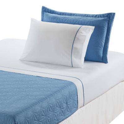 Quilt sherpa + sábana 144 hilos azul vela 1,5 plazas