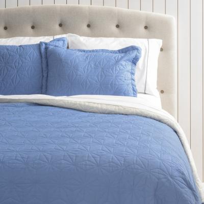 Quilt sherpa + sábana 144 hilos azul vela 2 plazas