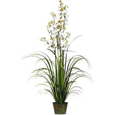 Planta artificial grass flor blanca g 180 cm