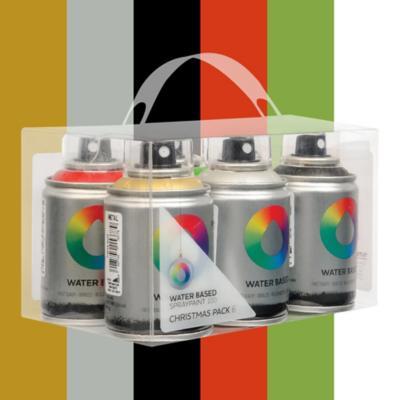 Spray base agua pack 6 colores navidad 100 ml