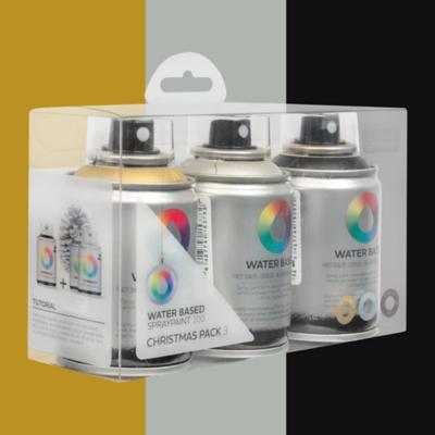 pack base agua 3 colores oro plata negro 100 ml