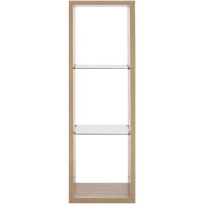 Estante melamina/vidrio templado 50x39,6x150 cm Oak