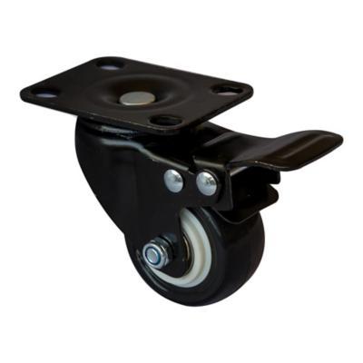 Rueda poliuretano negra 50 mm 50 kg con freno