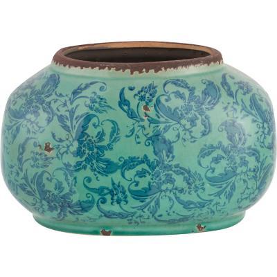 Vasija cerámica Borde 18,5 cm celeste