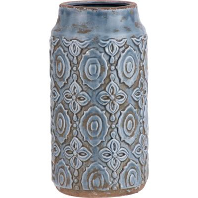Vasija cerámica diseño 34 cm azul