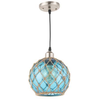 Lámpara de colgar Metal, vidrio y cañamo Udine Azul