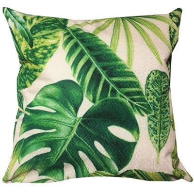 Cojín lino hojas verde claro 45 x 45 cm