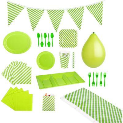 Pack rayas verde 10 personas