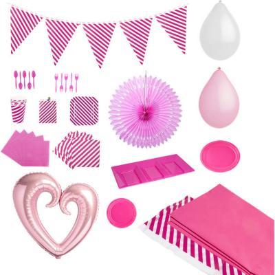 Pack rayas rosado 20 personas