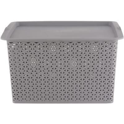 Canasta ratán 35x47x24 cm cm gris