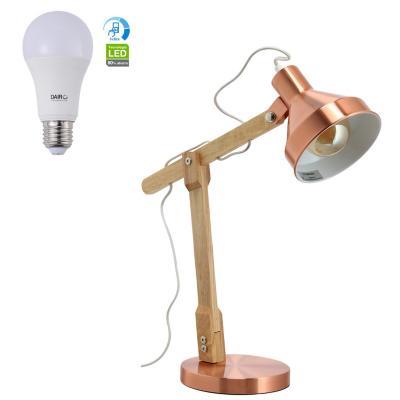 Combo Lámpara de Mesa 1L E27 + Ampolleta LED A60 11.5W E27