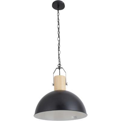 Lámpara de colgar Metal y madera Bissen Negro