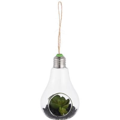 Planta artificial en ampolleta verde