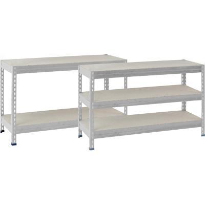 Estantería metal/madera gris 176x120x50 cm
