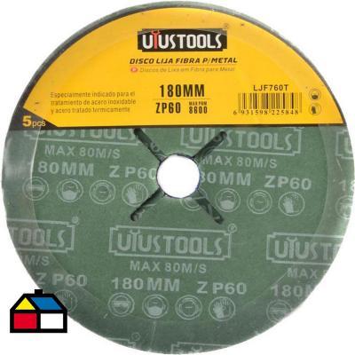Disco lija fibra para metal 5un 180 mm #60