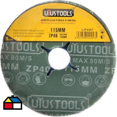 Disco lija fibra para metal 5un 115 mm #40