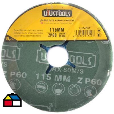 Disco lija fibra para metal 5un 115 mm #60