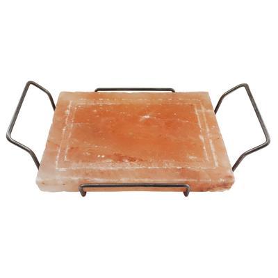 Tabla de sal rosada con soporte parrilla