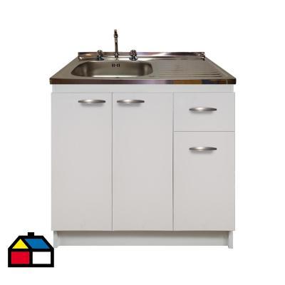 kit mueble base blanco 1 cajón +lavaplatos derecho 100x50 cm